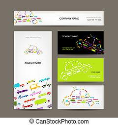 croquis, business, voitures, collection, conception, cartes, ton