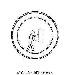 croquis, cadre, frappement, sac, frapper, monochrome, homme, circulaire