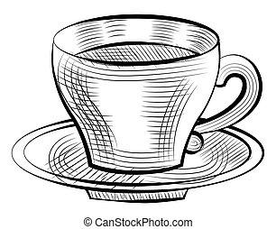 croquis, café, soucoupe, porcelaine, isolé, tasse