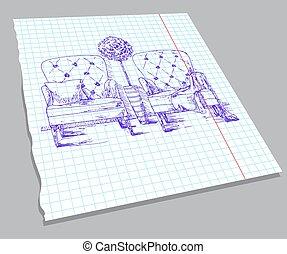 croquis, cahier, sheet., deux, illustration, main, vecteur, dessiné, fauteuils, potted, plant.