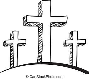 croquis, calvaire, croix