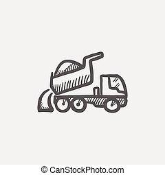 croquis, camion, décharge, icône