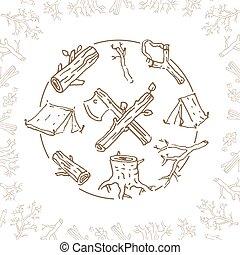 croquis, camping, illustration, main, vecteur, dessiné, wh