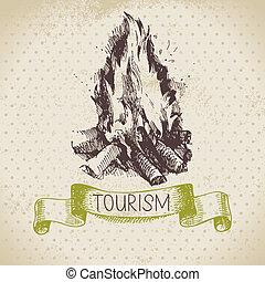 croquis, camping, randonnée, illustration, main, arrière-plan., vendange, dessiné, tourisme