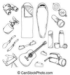 croquis, camping, set., illustration, main, vecteur, dessiné, tourisme, style.