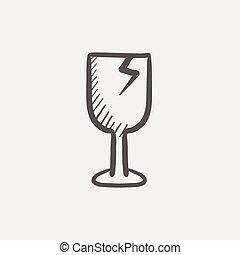 croquis, cassé, fragile, vin verre, icône