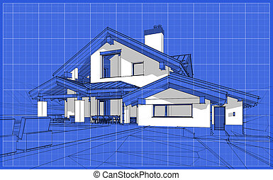 croquis, chalet, confortable, render, maison, moderne, style, 3d