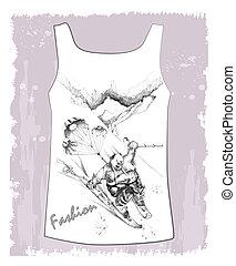 croquis, chemise, fantastique, main, dessiné, skieur