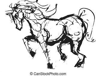 croquis, cheval