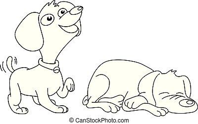 croquis, chiens, contour, lignes, deux, illustration, isolé, vecteur, arrière-plan noir, main, dessiné, blanc, dormir, sourire