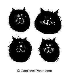 croquis, chiens, silhouette, chat, conception, faces, ton