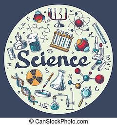 croquis, chimie, emblème, gabarit, recherche