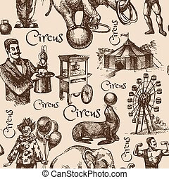 croquis, cirque, illustration, main, vecteur, dessiné,...