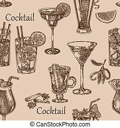 croquis, cocktail, seamless, illustration, main, arrière-plan., vecteur, dessiné