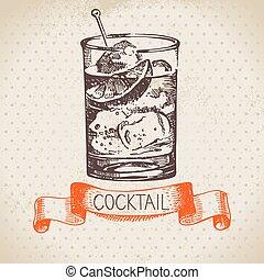 croquis, cocktail, vendange, main, fond, dessiné