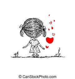 croquis, coeur, valentin, conception, carte, girl, ton, rouges