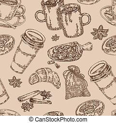 croquis, coffee., seamless, illustration, main, arrière-plan., vecteur, café, dessiné