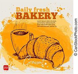 croquis, coffee., tasse, croissant, style, business., aquarelle, conception, fond, dessiné, main, ton