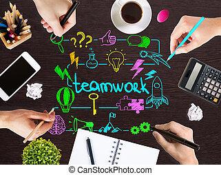 croquis, collaboration, bureau