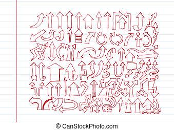 croquis, collection, main, conception, flèche, dessiné, ton