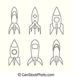 croquis, coloration, ensemble, fusée, vecteur, bateau