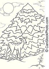 croquis, coloration, hiver, griffonnage, cerf, theme., book., main, snow., arbre, graphique, noir, adulte, année, dessiné, blanc, nouveau, noël, paysage