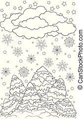 croquis, coloration, hiver, griffonnage, flocons neige, arbres, neige, theme., clouds., pins, graphique, noir, book., année, dessiné, blanc, main, nouveau, noël, paysage, adulte