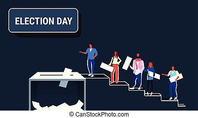 croquis, concept, électeurs, papier, élection, pendant, vote, gens, votes, entiers, coulage, hommes, mettre, escalade, horizontal, escalier, jour, femmes, boîte, haut, longueur, endroit, vote, vote