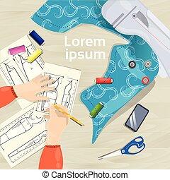 croquis, concept, angle, fonctionnement, sommet, mains, concepteur, mode, lieu travail, bureau, table, vue, dessin, vêtements