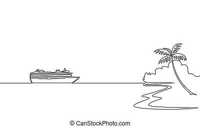croquis, concept, art, vacation., une, unique, conception, mer, bateau croisière, voyage, voyage, exotique, vacances, continu, illustration, voyage, ligne, contour, île, paquebot, océan, vecteur, dessin