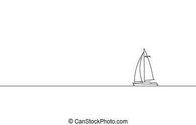 croquis, concept, art, vacation., une, unique, conception, mer, bateau, voyage, voyage, exotique, luxe, vacances, continu, illustration, voyage, ligne, contour, île, yacht, océan, vecteur, dessin