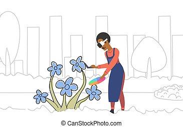 croquis, concept, couleur, par, technologie, casque à écouteurs, palette, fleur, griffonnage, réalité virtuelle, tenue, 3d, porter, entiers, contrôleur, horizontal, peintre, homme, éprouver, longueur, augmented, dessin, lunettes