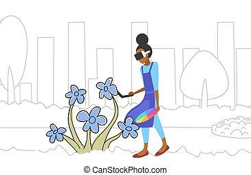 croquis, concept, couleur plein, par, technologie, casque à écouteurs, palette, fleur, griffonnage, réalité virtuelle, tenue, 3d, porter, femme, contrôleur, horizontal, peintre, éprouver, longueur, augmented, dessin, lunettes