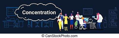 croquis, concept, femme, gens bureau, processus, questions, concentration, horizontal, fonctionnement, griffonnage, créatif, demander, entiers, business, séance, patron, co-working, employés, travail, longueur, lieu travail