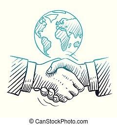 croquis, concept, handshake., business, global, association, fond, main, vecteur, direction, international, dessiné, poignée main, globe.