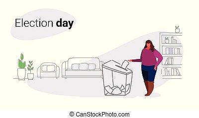 croquis, concept, papier, élection, femme, vote, électeur, griffonnage, caractère, obèse, femme, gras, graisse, mettre, pendant, horizontal, jour, boîte, entiers, liste, longueur, vote