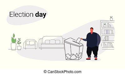croquis, concept, papier, élection, vote, électeur, griffonnage, caractère, obèse, entiers, gras, graisse, mettre, pendant, horizontal, jour, homme, boîte, mâle, liste, longueur, vote