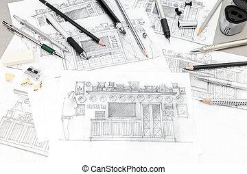 croquis, concept, rénovation, intérieur, maison, outils, dessin