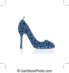 croquis, conception, chaussures, femme, ton