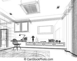 Croquis chalet confortable render maison moderne - Croquis chambre a coucher ...