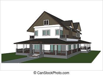Maison croquis vecteur moderne croquis maison bois for Conception de croquis de plan de maison