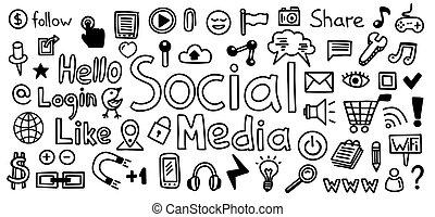 croquis, concepts., technologie, wifi, icônes, média, set.,...