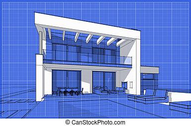 croquis, confortable, render, maison, moderne, 3d