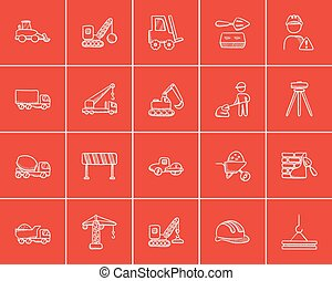 croquis, construction, set., icône
