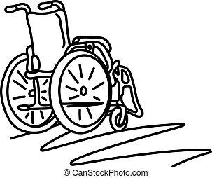 croquis, copyspace, fauteuil roulant, lignes, isolé, illustration, main, vecteur, arrière-plan noir, dessiné, blanc