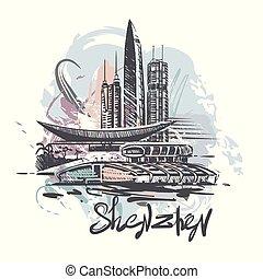 croquis, couleur, résumé, illustration, drawing., vecteur, shenzhen