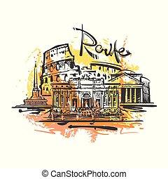 croquis, couleur, résumé, rome, drawing., vecteur