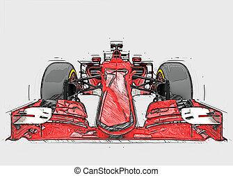 croquis, couleur, voiture, -, une, formule, rouges