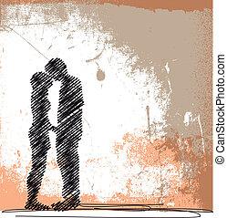 croquis, couple, illustration, vecteur, kissing., résumé