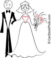 croquis, couple, palefrenier, mariée, vecteur, love: